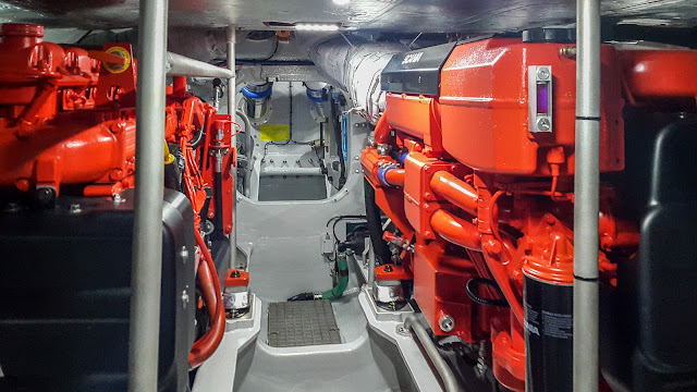 Photo of the new vessel's pristine engine room