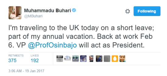 Nigerians react to President Buhari's planed 2 weeks vacation to United Kingdom