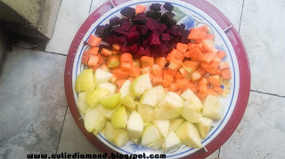 Chopped Beetroot Carrot and Apple