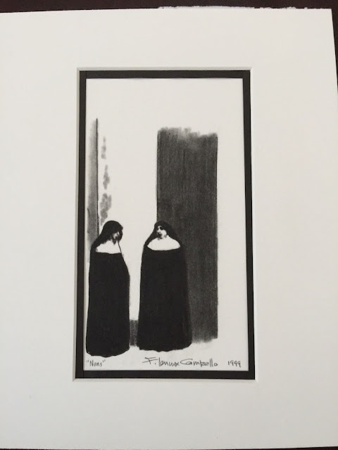 """Nuns."" Charcoal on Paper, 1999 by F. Lennox Campello"
