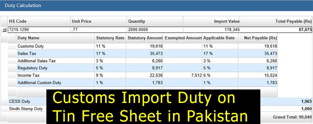 Tin-Free-Sheet-Import-Duty-in-Pakistan