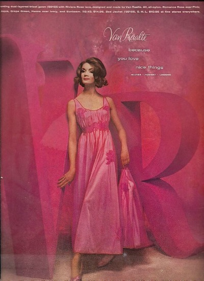 Ad with hot pink background featuring model in pink chiffon peignoir set for 1950's Van Raalte