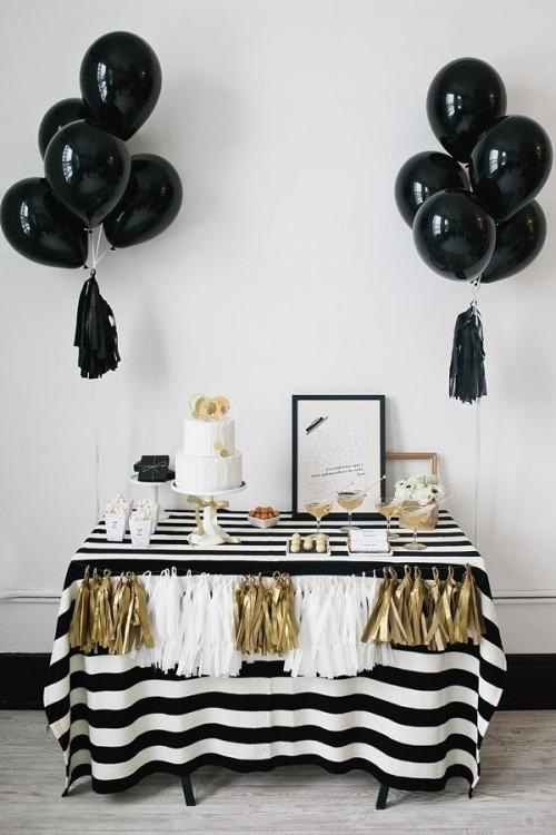 Matrimonio Tema Juventus : Decoração de festas preto e dourado guia tudo festa