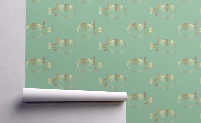 Puffer Fish Blowfish Gold on Green Blue