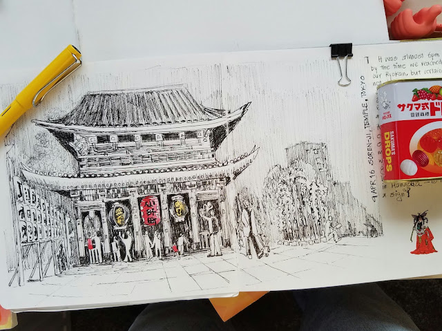 Sunil Shinde Sketches Sensoji Temple, Tokyo,