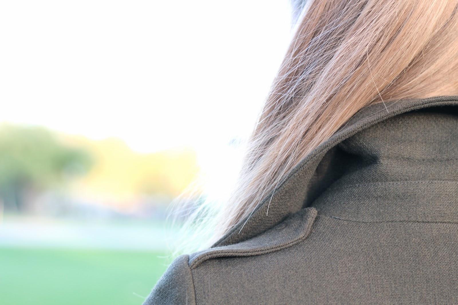 Collar of Zara khaki green military coat