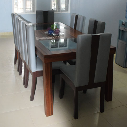 Eight Seater Leather and Wood Dining Set available in Port Harcourt, Nigeria