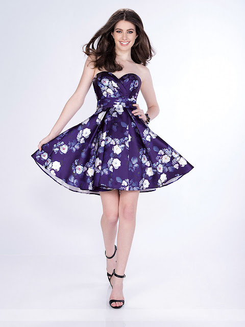 Sweetheart Floral Printed Taffeta Homecoming Dress For Valentine's Day
