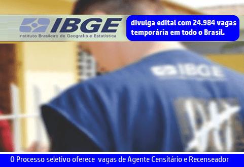 Processo seletivo IBGE tem 24 mil vagas são abertas em 2017