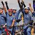 Ciclistas solidarios de Casa Brugal llegaron el pasado sábado a la Puntilla de Puerto Plata