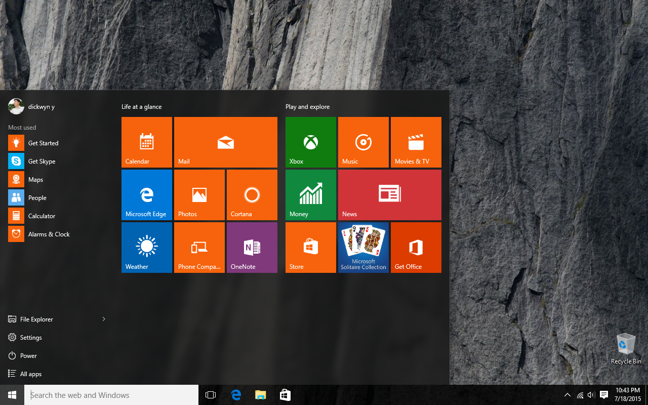 windows-10-stock-start-menu