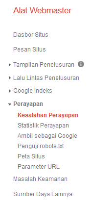 Kesalahan Perayapan Google Webmaster