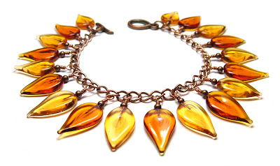 Lampwork glass leaf bracelet