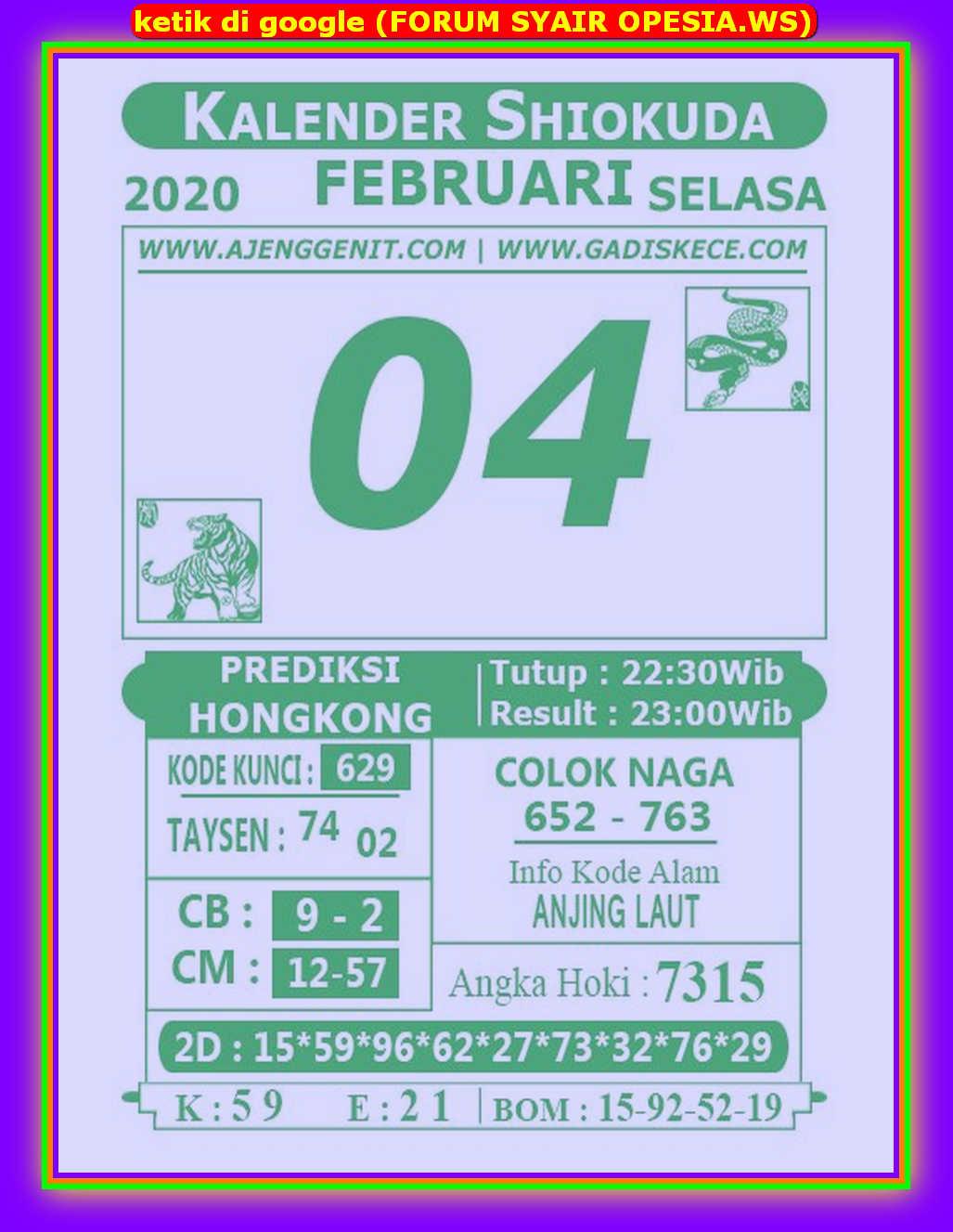 Kode syair Hongkong Selasa 4 Februari 2020 177