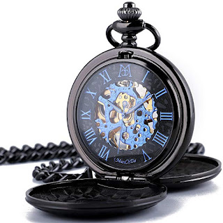 Skeleton steampunk pocket watch roman numerals double cover
