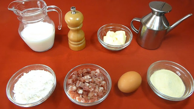 Croquetas de jamón serrano.Ingredientes