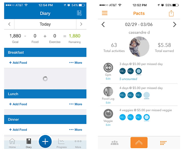 pact app, myfitnesspal, fitness,
