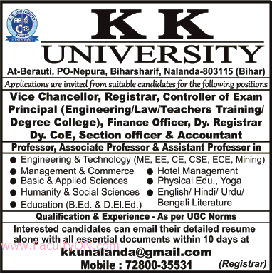 K K  University, Nalanda, Wanted Teaching Faculty Plus Non