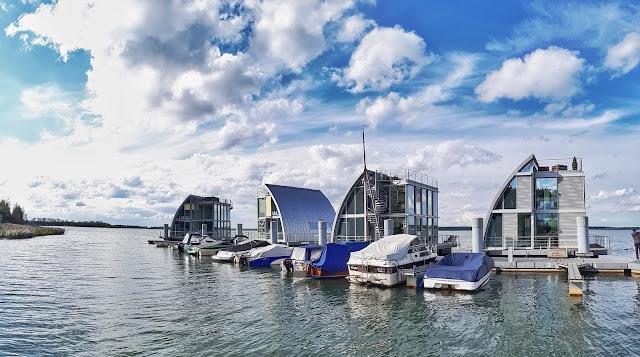 Lausitzer seenland aka Lusatian Lakeland Floating houses aka Lausitz resort at Geierswalder lake