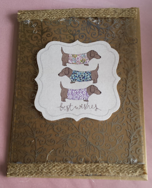 Best Wishes A6 Kraft card - Trio of cute dachshunds on acetate