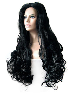 Bayan uzun siyah dalgalı saç peruk