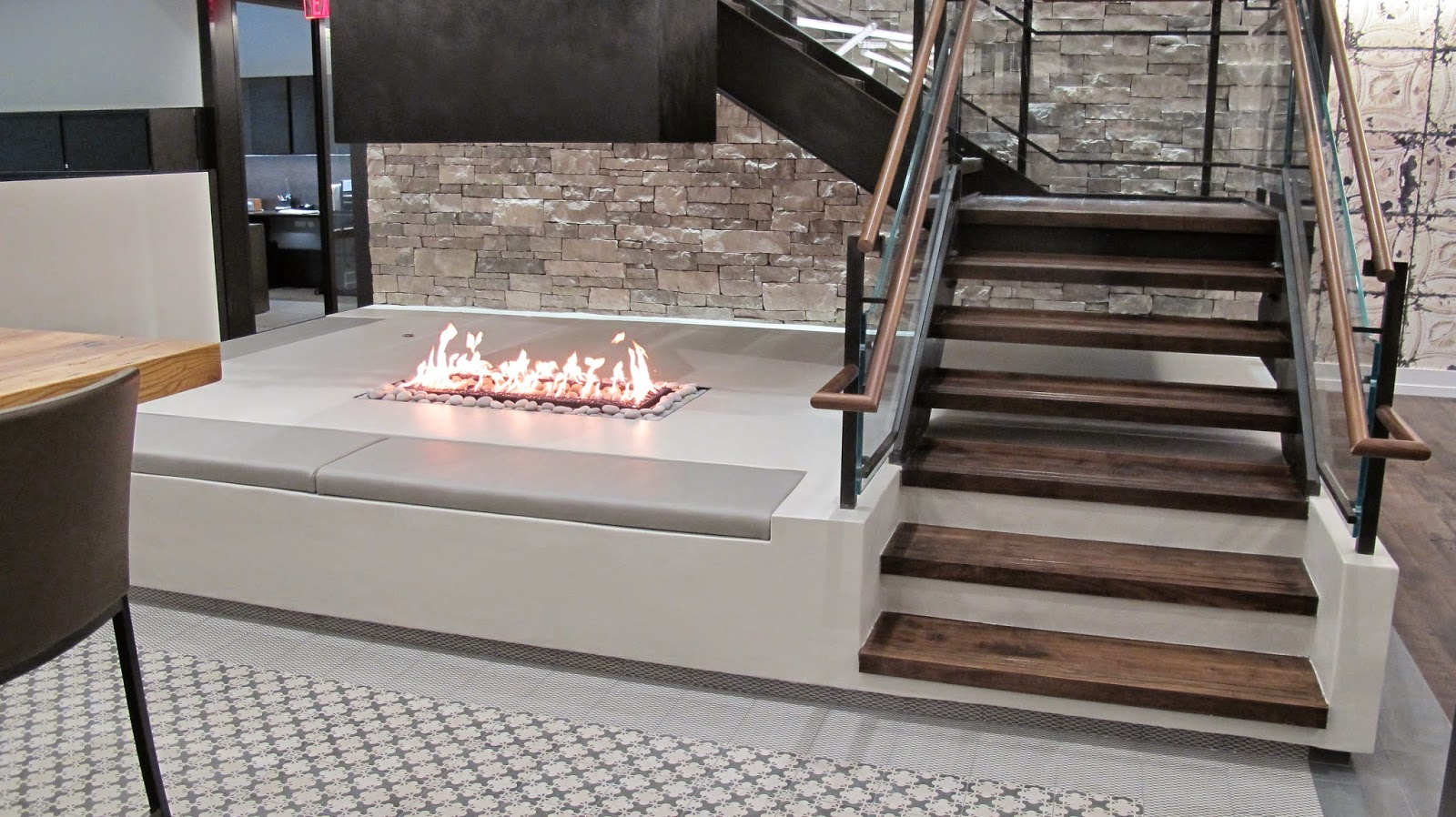 Acucraft Fireplaces Custom 4 Sided Open Gas Fireplace