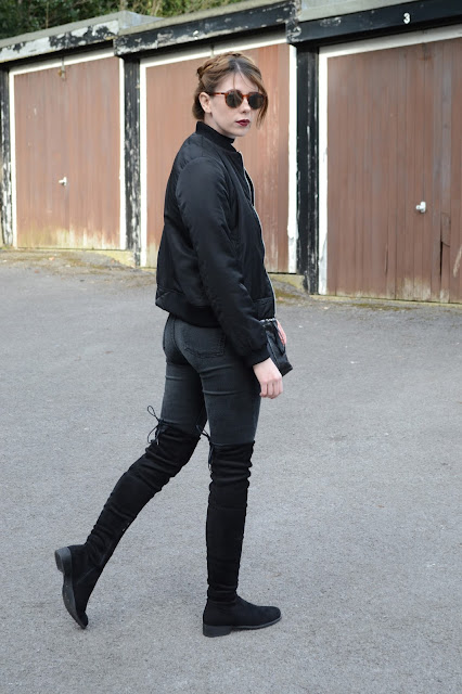 Affordable fashion blogger ft Black bomber jacket from Zara, Thigh high boots from Public desire. Kourtney khardashian style. High street fashion, women's fashion blog.