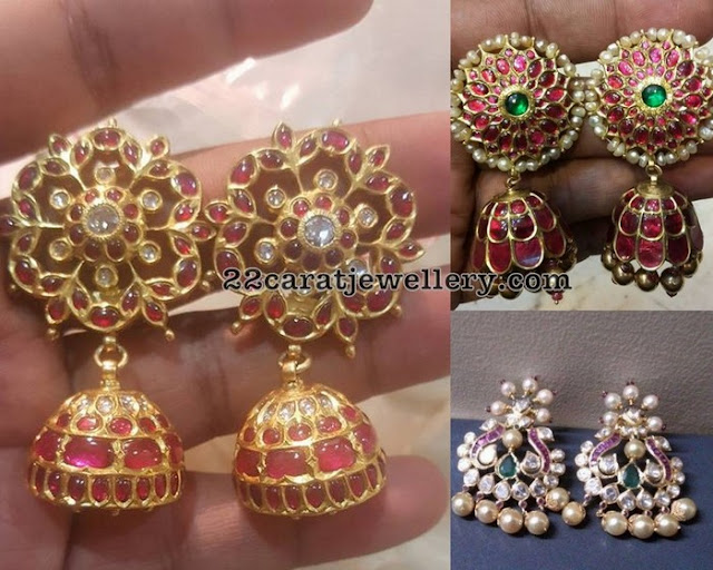 Floral Style Large Ruby Jhumkas