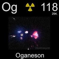 Oganeson elementi üzerinde oganesonun simgesi, atom numarası ve atom ağırlığı.