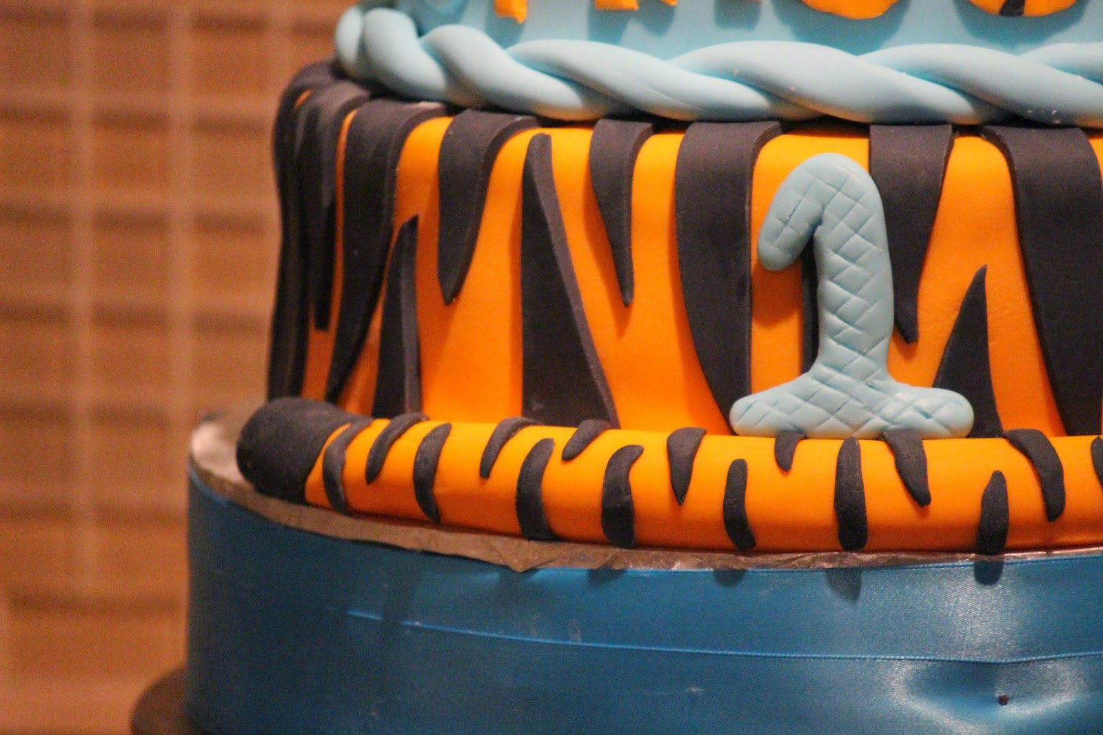 The Bottom Tier Is All Tiger Striped Complete With A Tail I Made Little Tigger Cake Topper Fondant He Even Has His Spiral To Bounce