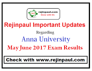 Anna University Results 2017 May/June 2017 UG PG