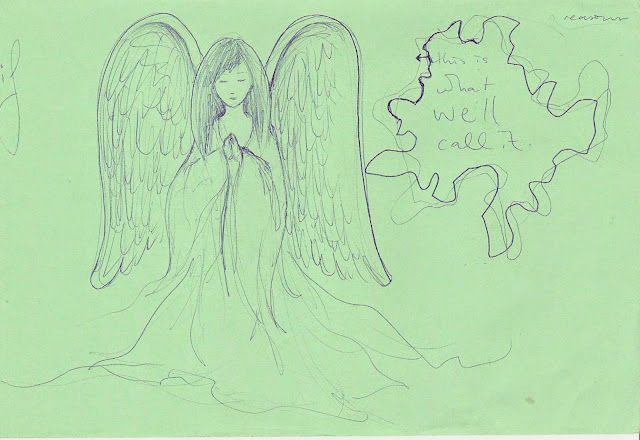 sketch of a winged angle. written text around the page says 'if' / 'reasons' / 'this is what we'll call it'