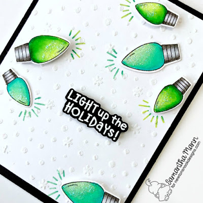 Light Up the Holidays Card by Samantha Mann for Newton's Nook Designs, Christmas, cards, light bulbs, #newtonsnook #stencil #christmas #cards