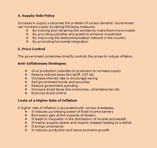 Inflation cause effects and remedies