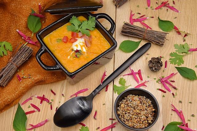 soupe carottes coriandre erable poivrons melange trappeur