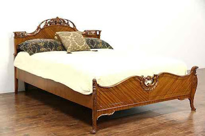 French+Style+Carved+Satinwood+1940+Vintage+Full+or+Double+Size-Antique+Bedroom+Sets