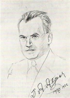 Retrato de Alexander Alekhine, dibujado por Henry Grob