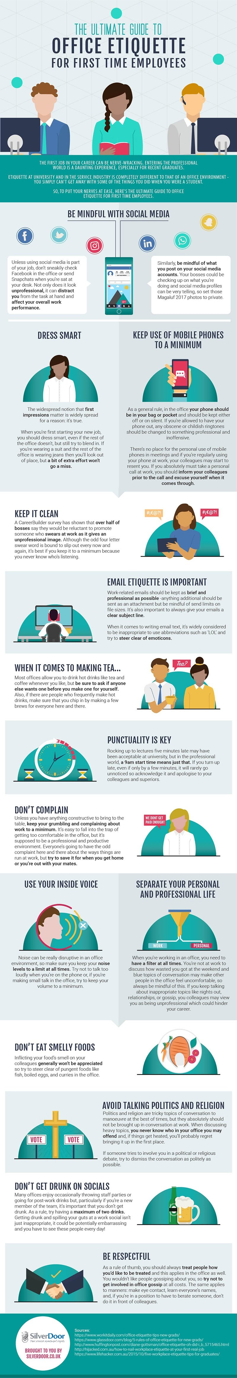 The Ultimate Guide To Office Etiquette For First Time Employees - #Infographic