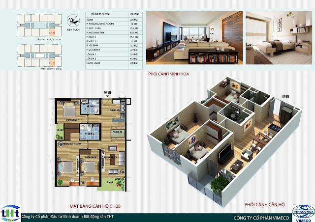 Mặt bằng căn 2B chung cư CT4 Vimeco
