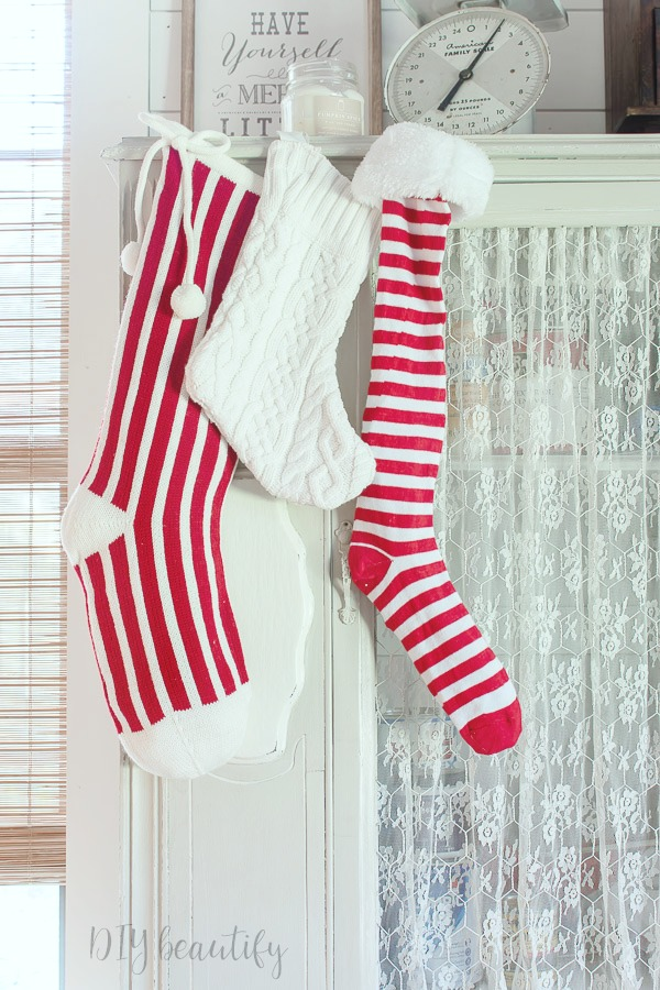 red and white striped stockings