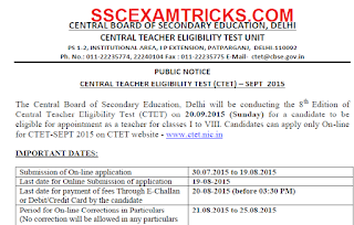 CTET Sept 2015 Notification /Advertisement