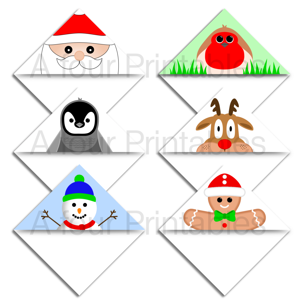 Set of six Christmas characters bookmark corner page markers.