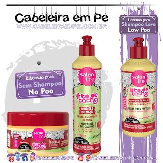 Gelatina (No Poo), Ativador de Cachos (No Poo) e Creme para Pentear (Low Poo) Tô de Cacho Vinagre de Maçã - Salon Line