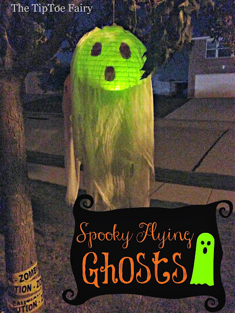 A step by step tutorial on how to make your own hanging ghost decorations for Halloween.  You can hang them easily from trees or from a porch.