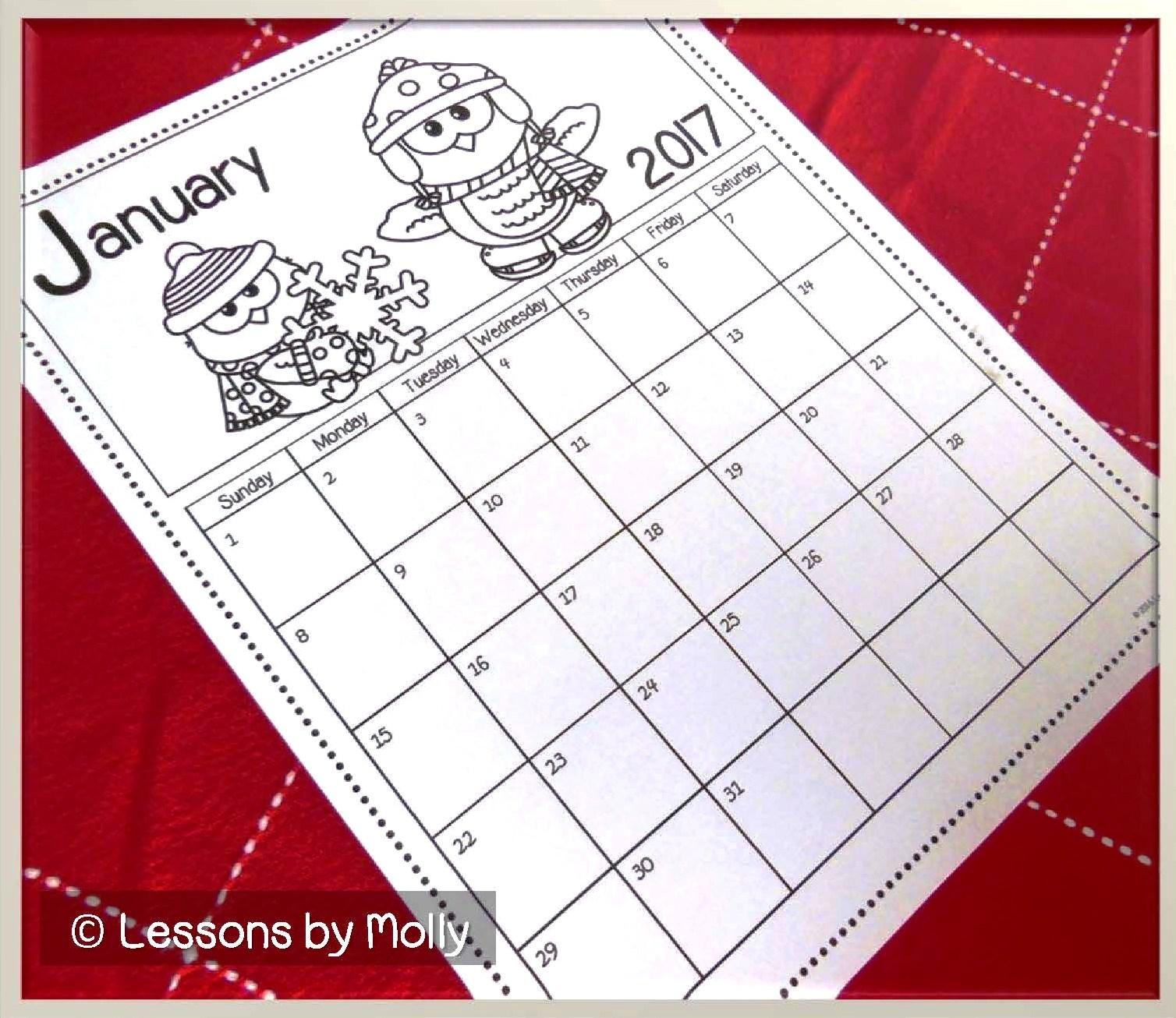 Blank Calendar Elementary : Lessons by molly free school calendar