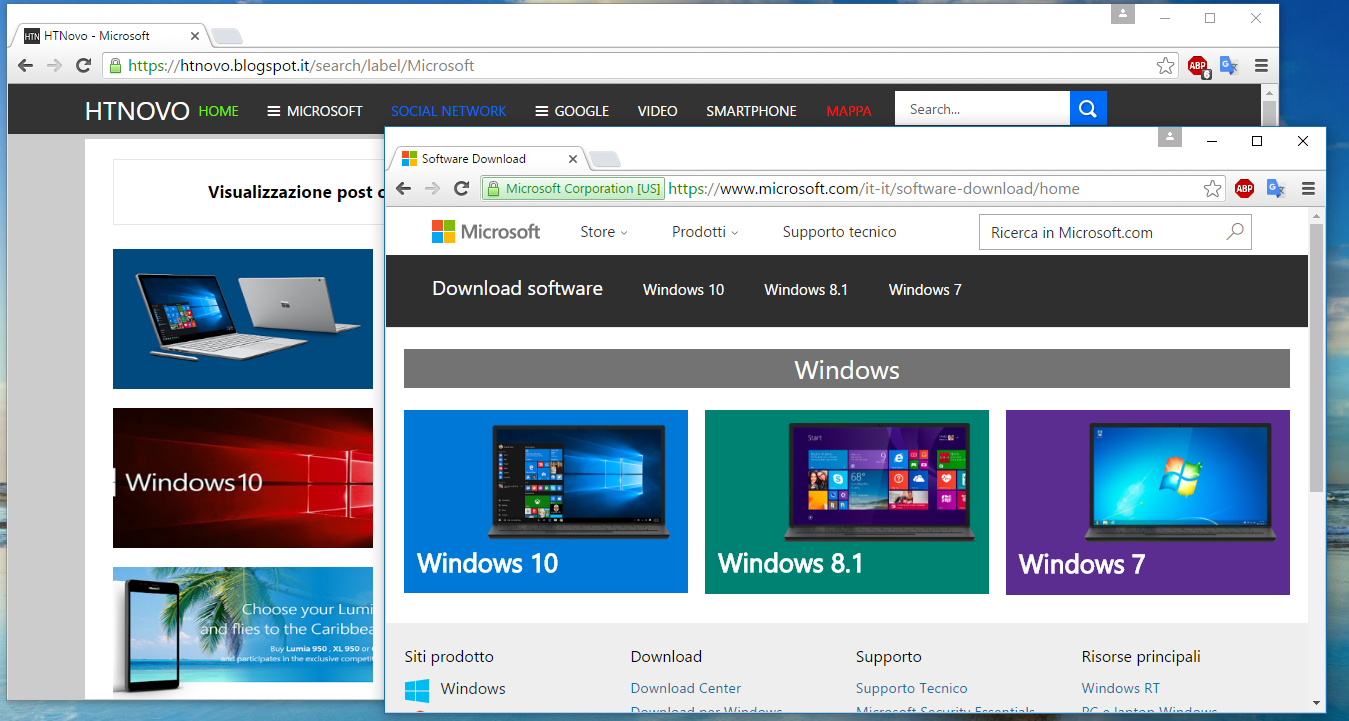 Scaricare iSO Windows 7/8.1/10