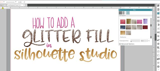 Silhouette Studio v4, silhouette studio tutorials, silhouette cameo, silhouette glitter htv, glitter heat transfer vinyl, Silhouette tutorial, glitter fill