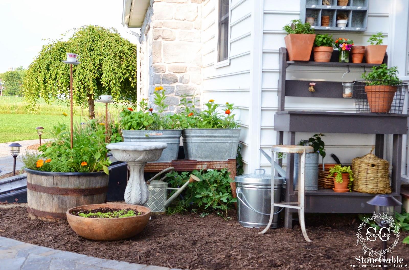 Summer Potting Bench And Kitchen Garden Stonegable