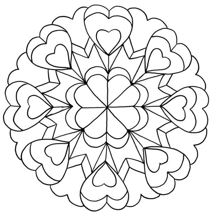 Dessins et Coloriages: Page de coloriage grand format à imprimer : figure géométrique coeurs