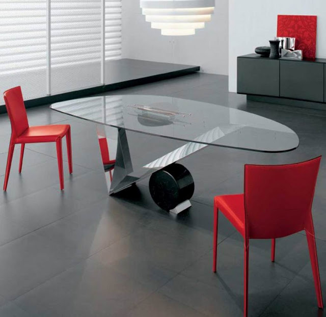 amazing unique dining room tables with glass on top and elegant red chairs